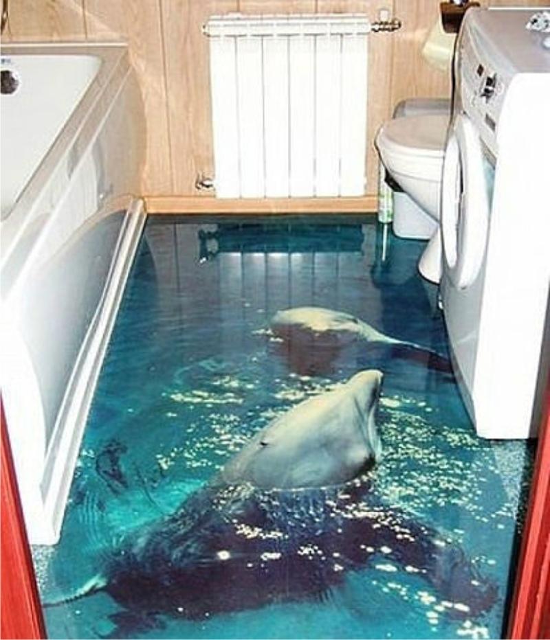3d полы фото с акулами